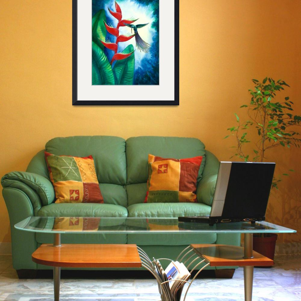 """Hummingbird and Heliconia Watercolor&quot  by savanna"
