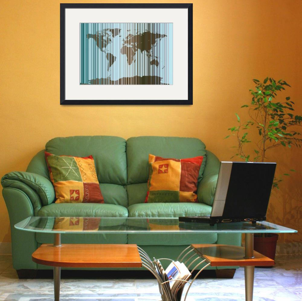 """World Map Abstract Barcode&quot  (2011) by ModernArtPrints"