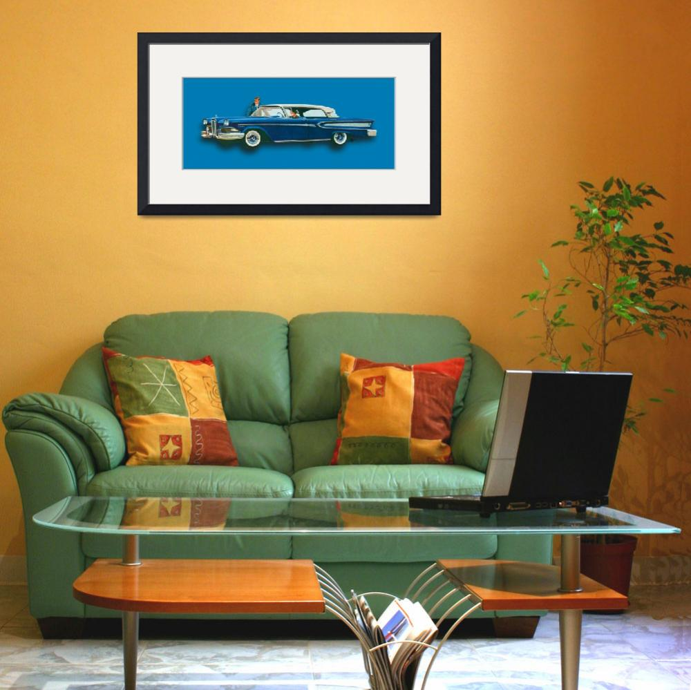 """Edsel Citation Car Advertisement Sedan Blue&quot  (2015) by RubinoFineArt"