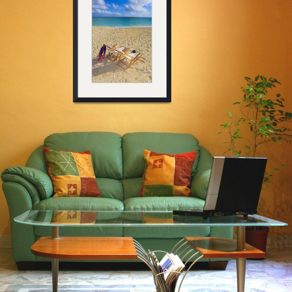 """Hawaii, Oahu, Kailua, Two Lounge Chairs On The Whi&quot  by DesignPics"