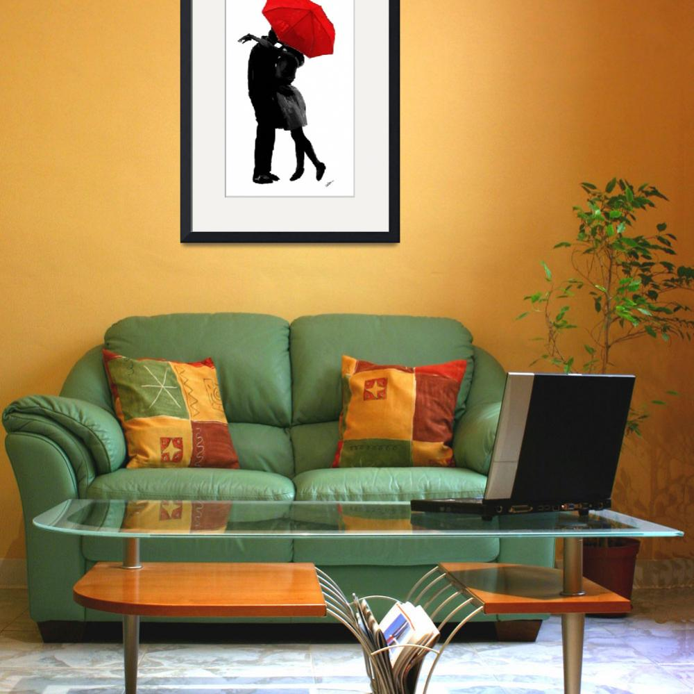 """Kissing Under the Red Umbrella&quot  (2011) by TranscendingArt"
