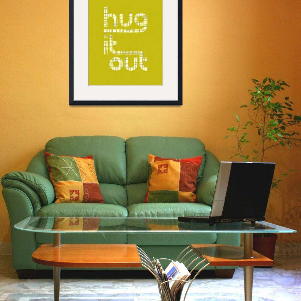 """Hug It Out • Crosshatch Chartreuse&quot  by Logophilia"