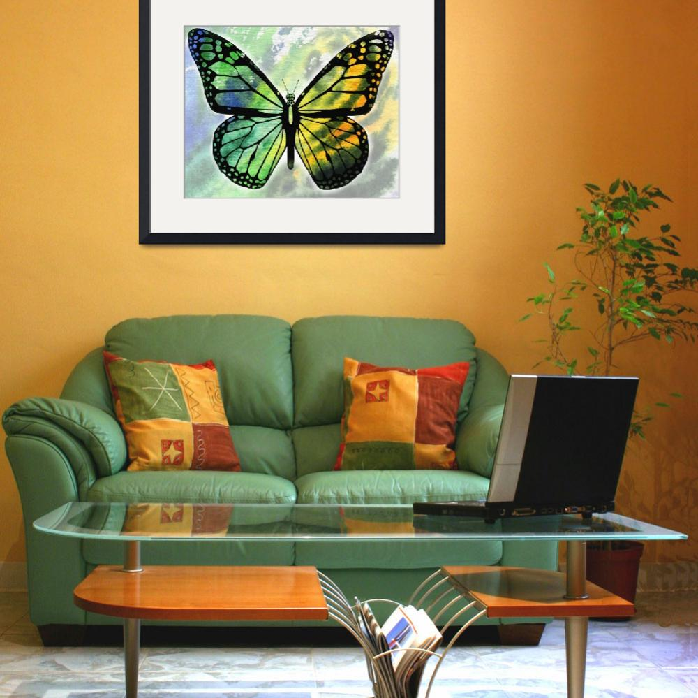 """Watercolor Butterfly In Green And Yellow&quot  (2017) by IrinaSztukowski"
