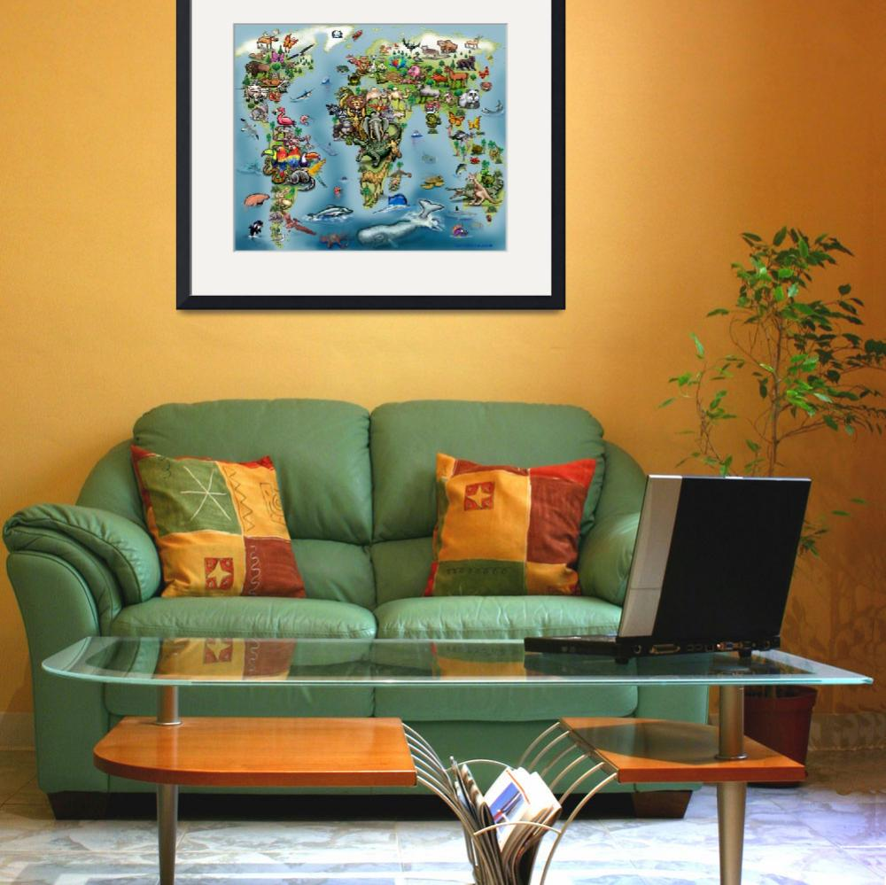 """Animals World Map Poster&quot  (2017) by FunGraphix"