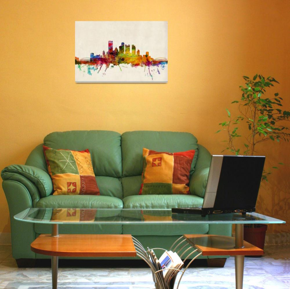 """Pittsburgh Pennsylvania Skyline&quot  (2013) by ModernArtPrints"