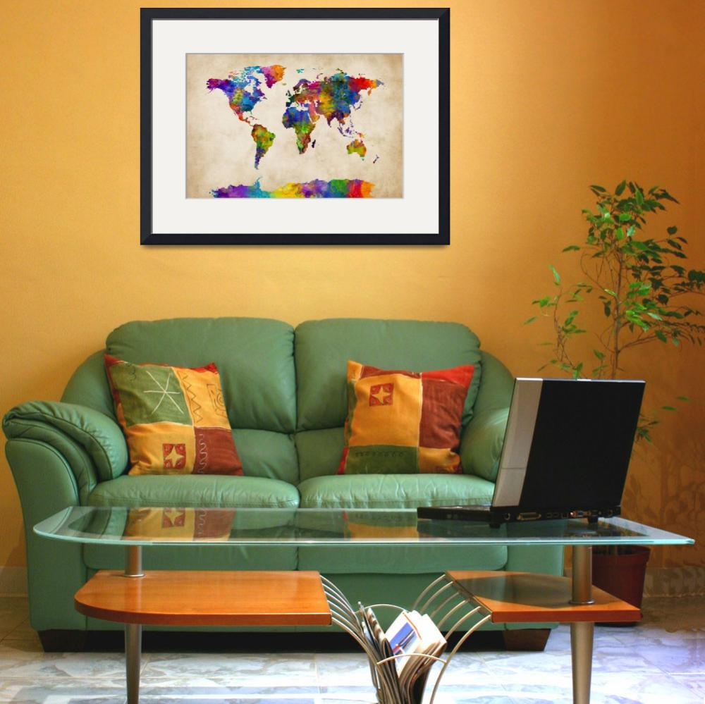 """Watercolor Map of the World Map&quot  (2015) by ModernArtPrints"