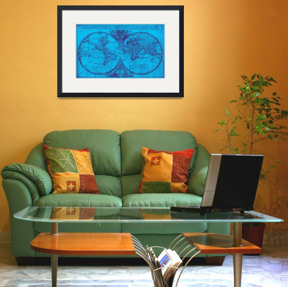 """World Map (1691) Blue & Purple&quot  by Alleycatshirts"
