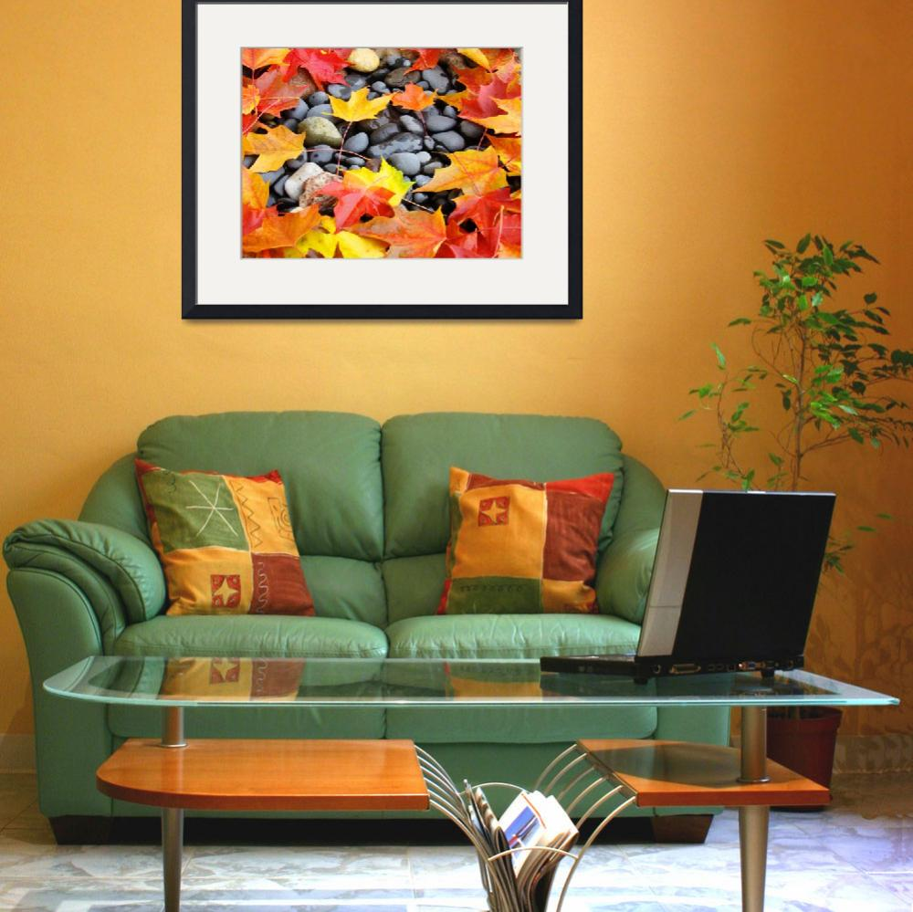 """Fall Tree Leaves art prints Colorful Autumn Rocks&quot  (2011) by BasleeTroutman"