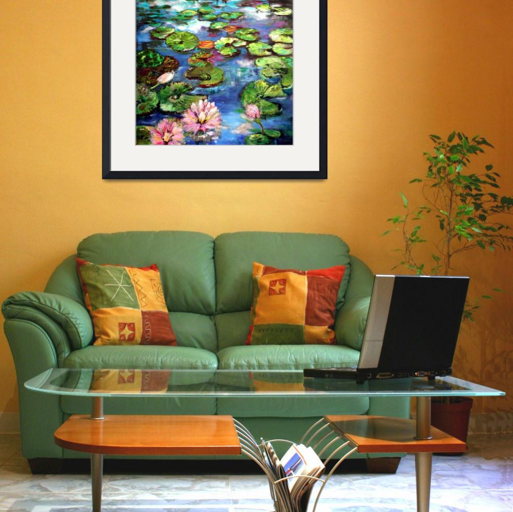 """Lily Pond Reflections Original Painting by Ginette&quot  (2002) by GinetteCallaway"