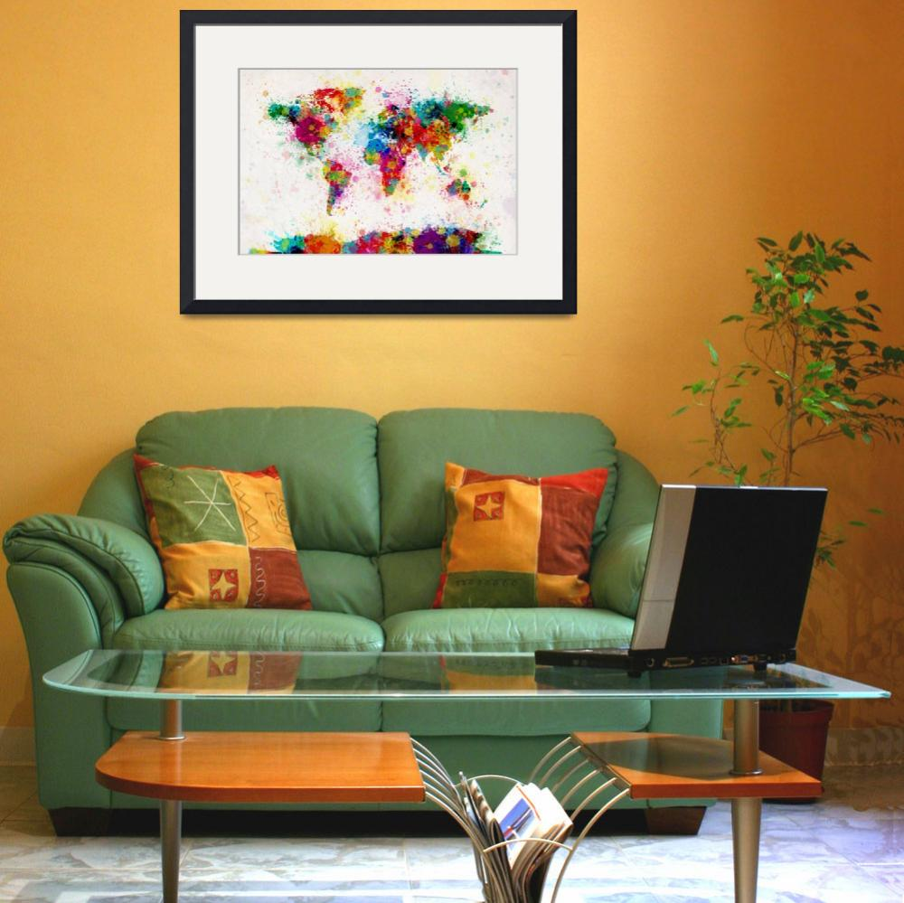 """World Map Paint Drops&quot  (2011) by ModernArtPrints"