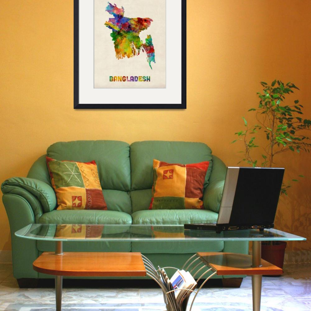 """Bangladesh Watercolor Map&quot  (2014) by ModernArtPrints"