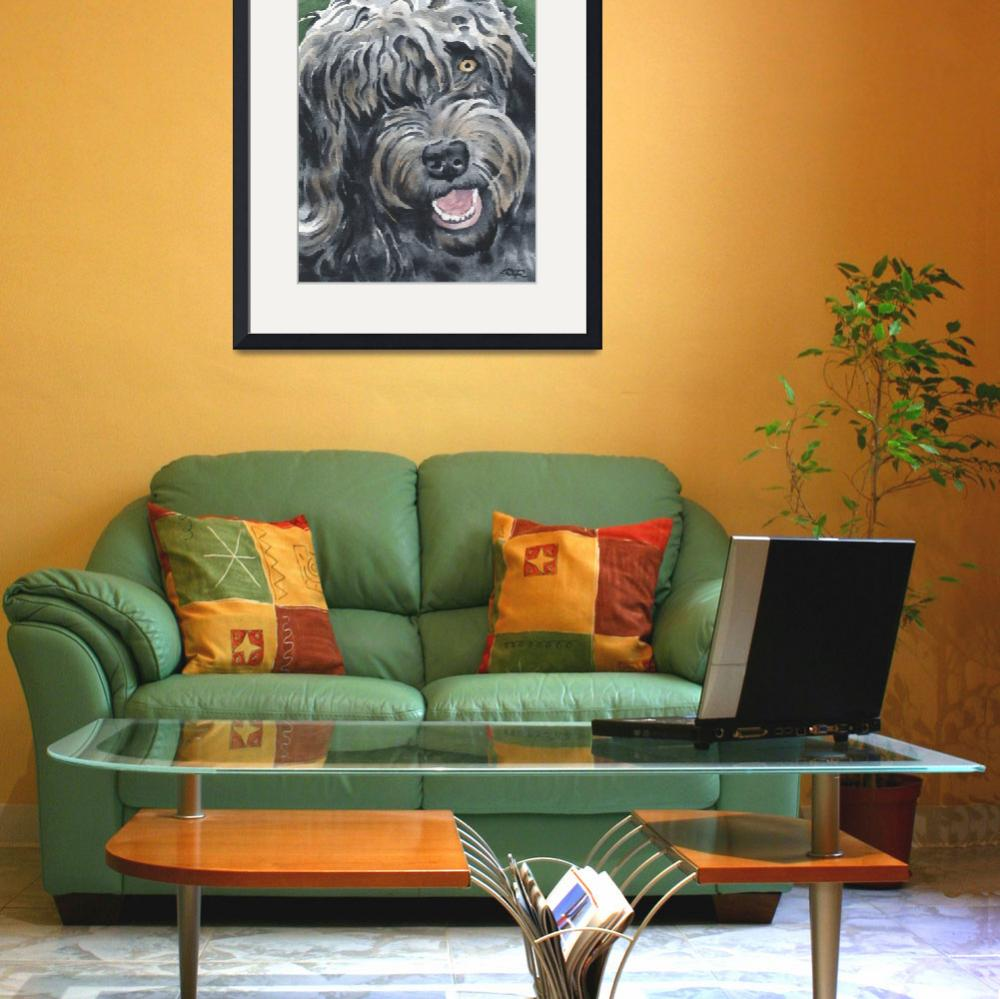 """Black Labradoodle&quot  (2015) by k9artgallery"