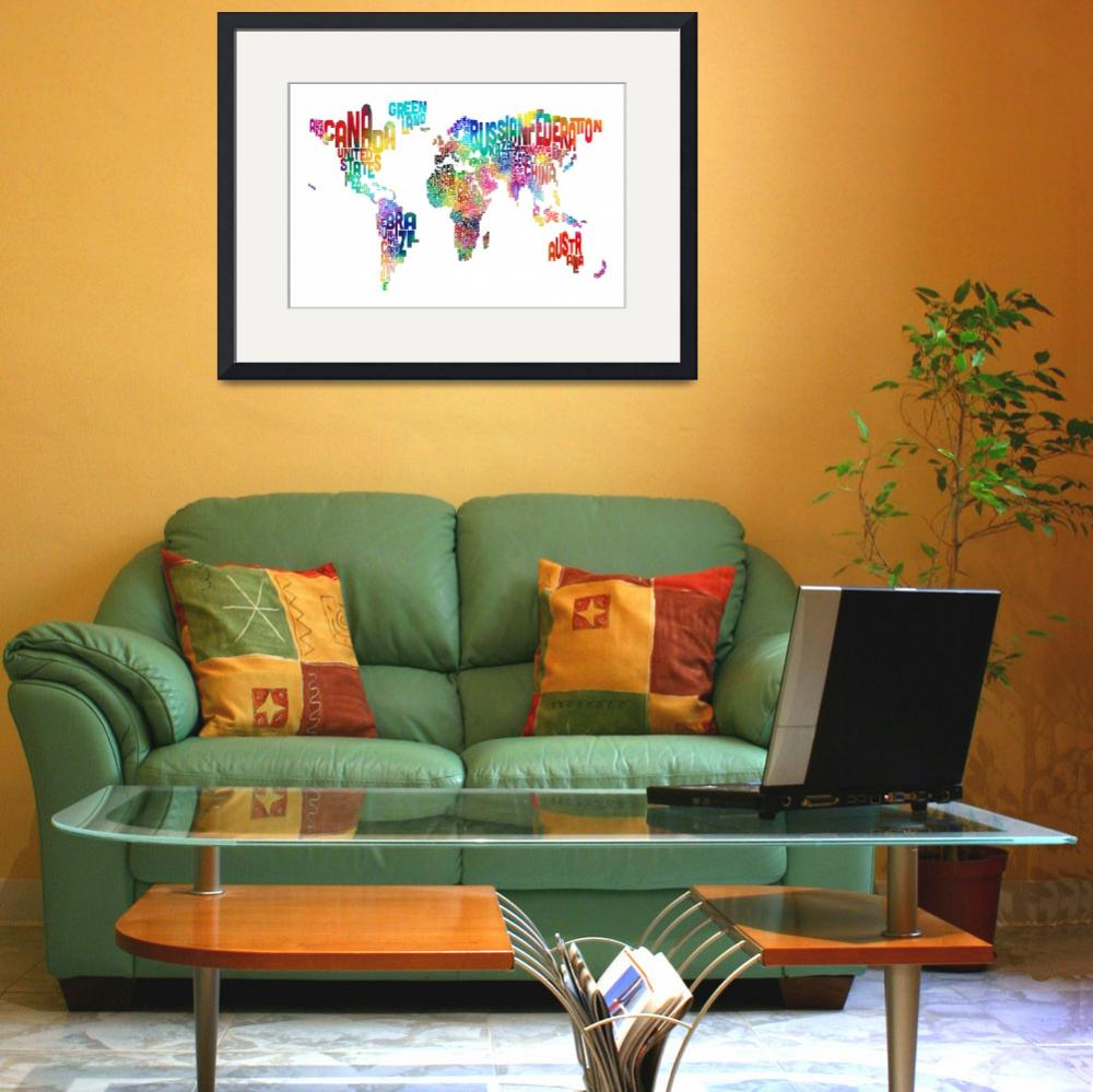 """Text Map of the World&quot  (2013) by ModernArtPrints"