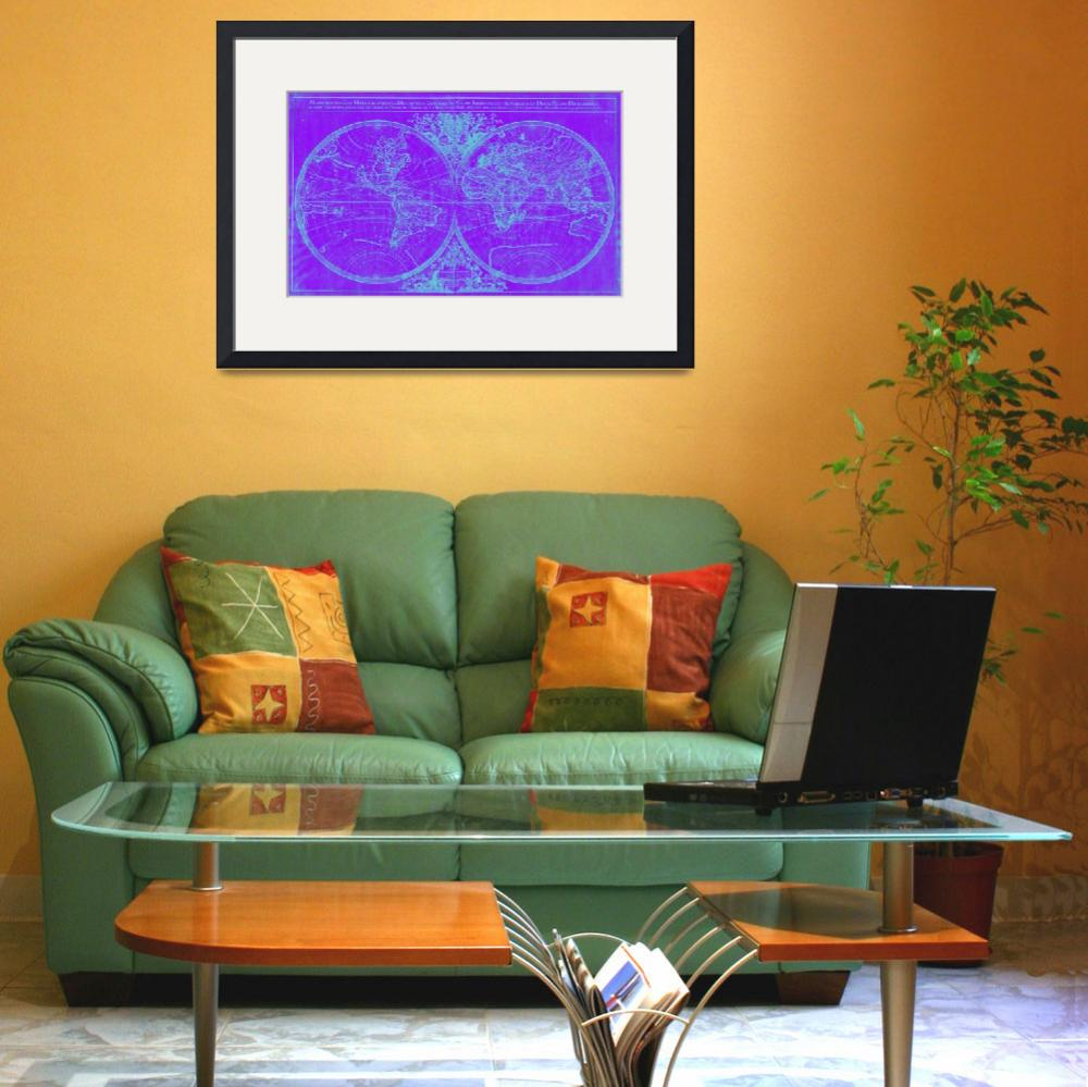 """World Map (1691) Purple & Blue&quot  by Alleycatshirts"