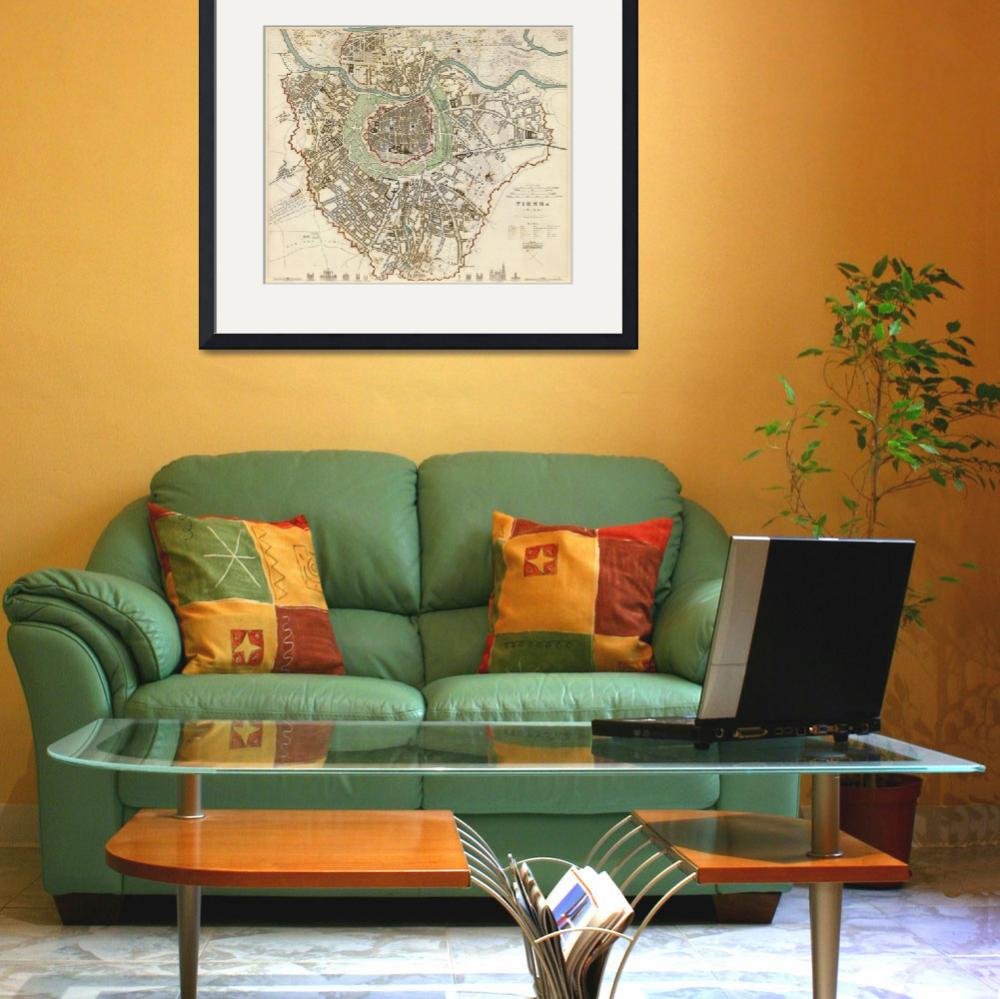 """Vintage Map of Vienna Austria (1833)&quot  by Alleycatshirts"