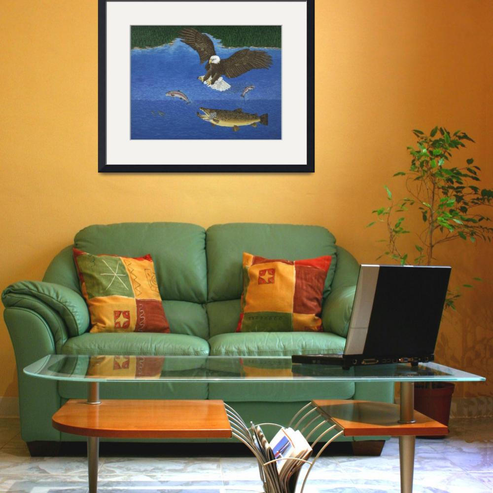 """Fine Art Prints Brown Trout Eagle Fish Hunting&quot  (2008) by BasleeTroutman"
