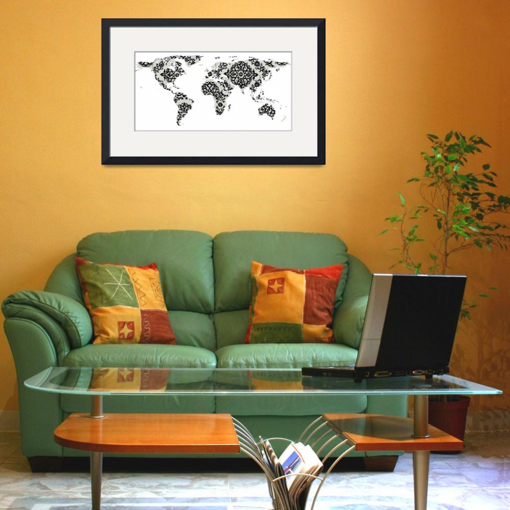 """world map pattern white background - 02 - resized&quot  by Alleycatshirts"