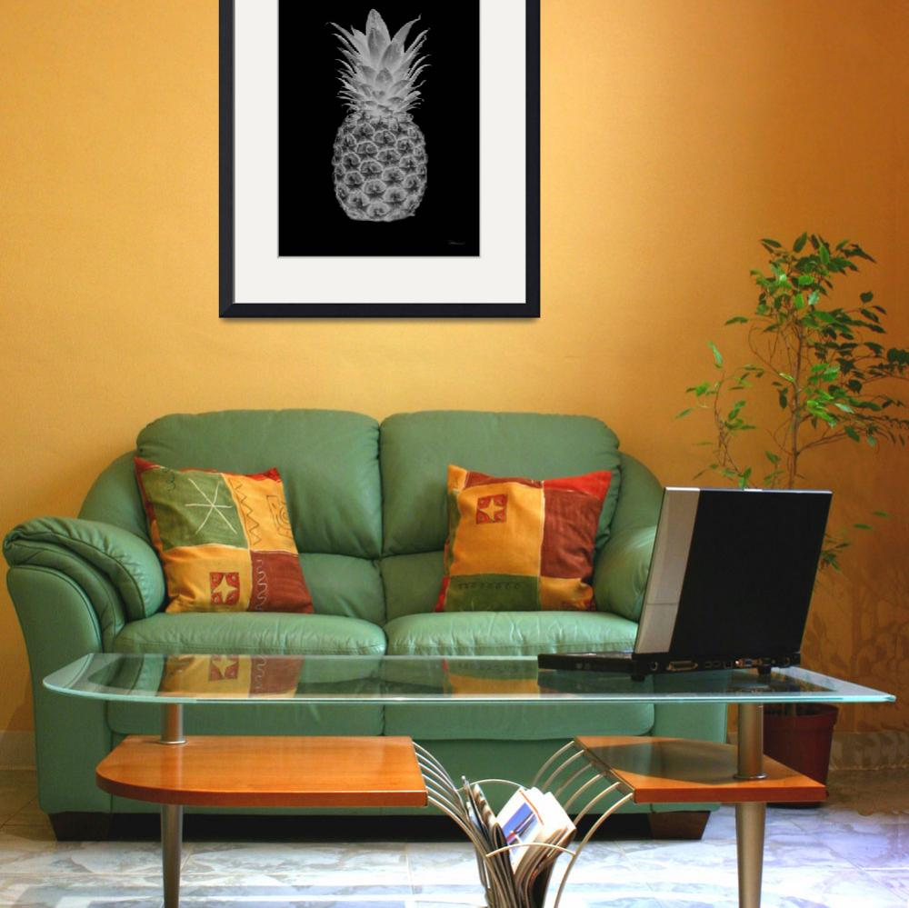 """14b Artistic Glowing Pineapple Digital Art Grey&quot  (2016) by Ricardos"