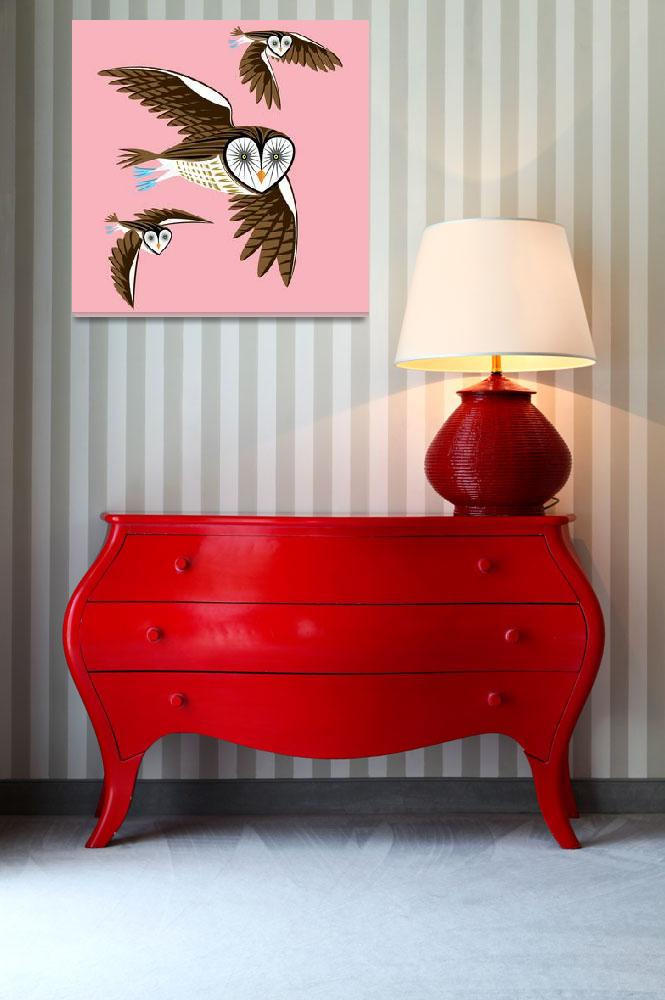 """Owls On The Prowl - Limited Edition Print&quot  (2010) by iotaillustration"