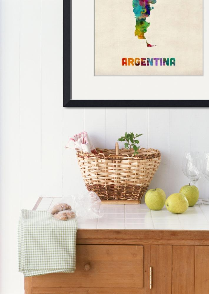 """Argentina Watercolor Map&quot  by ModernArtPrints"