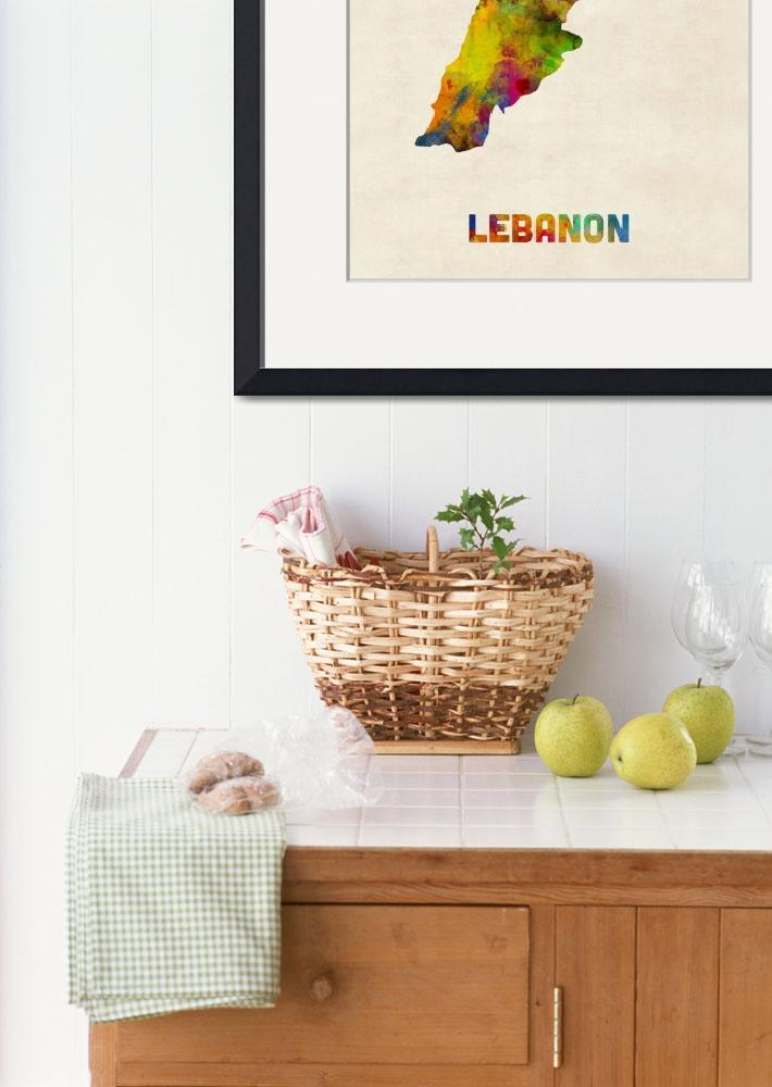 """Lebanon Watercolor Map&quot  (2015) by ModernArtPrints"