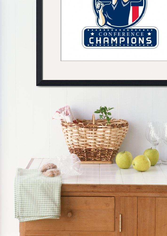 """Football Conference Champions New England Retro&quot  (2017) by patrimonio"