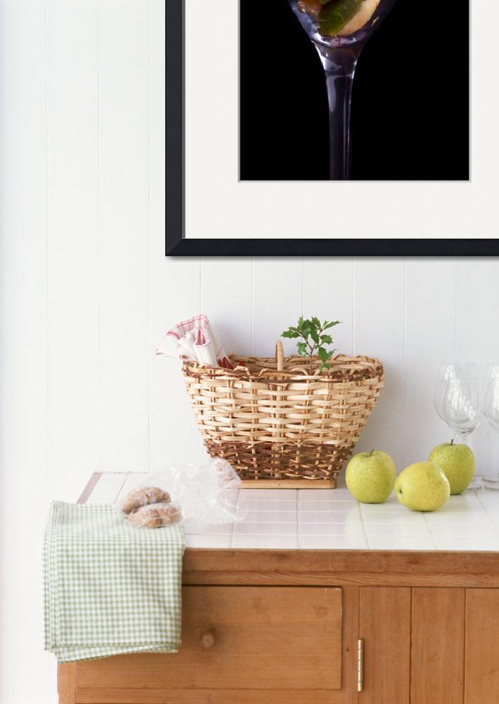 """Cup With Fruit Salad On Black Background&quot  (2011) by shopartgallery"