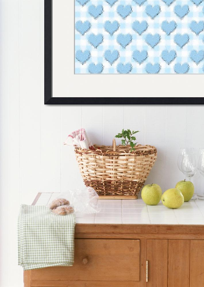 """Blue gingham love hearts wallpaper&quot  by funkyworm"