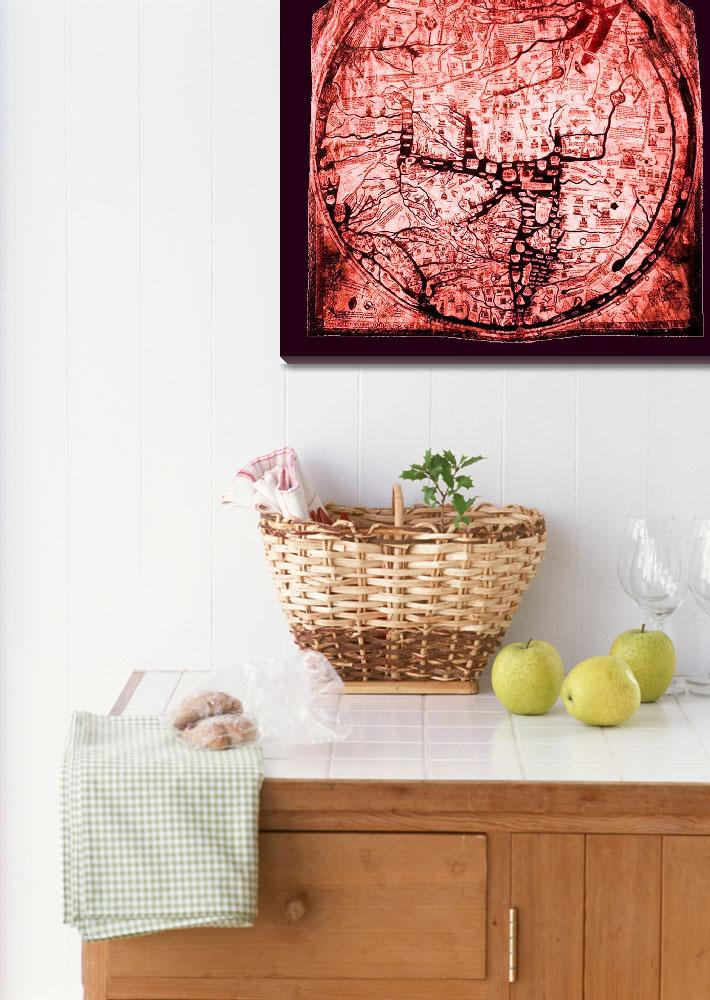 """Hereford Mappa Mundi Red Tint Medium Violet Border&quot  (2014) by TheNorthernTerritory"