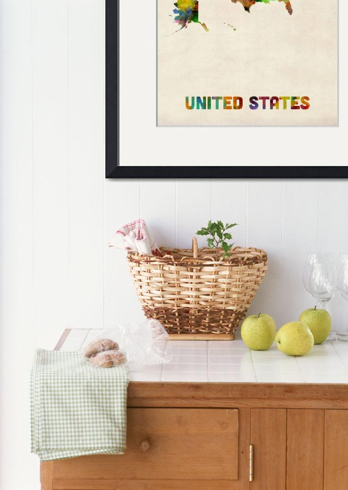 """United States, Watercolor Map&quot  (2013) by ModernArtPrints"