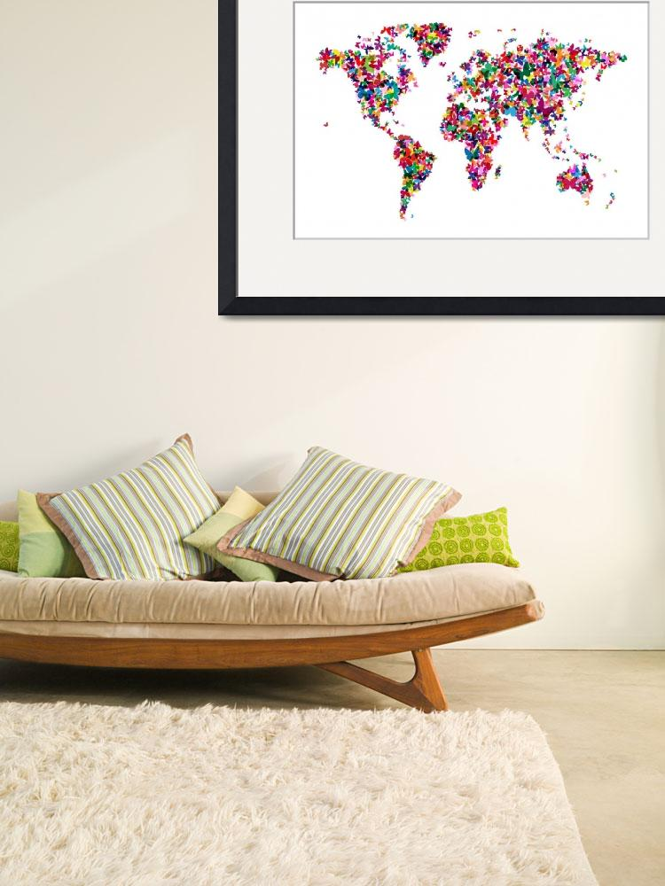 """Butterflies Map of the World&quot  (2012) by ModernArtPrints"