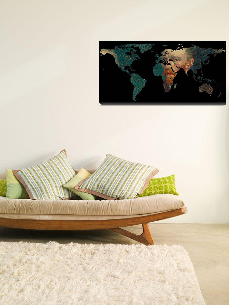 """World Map Silhouette - Van Gogh Self Portrait&quot  by Alleycatshirts"