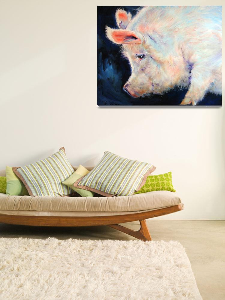 """MY PINK PIG LUCKY DAY&quot  (2007) by MBaldwinFineArt2006"