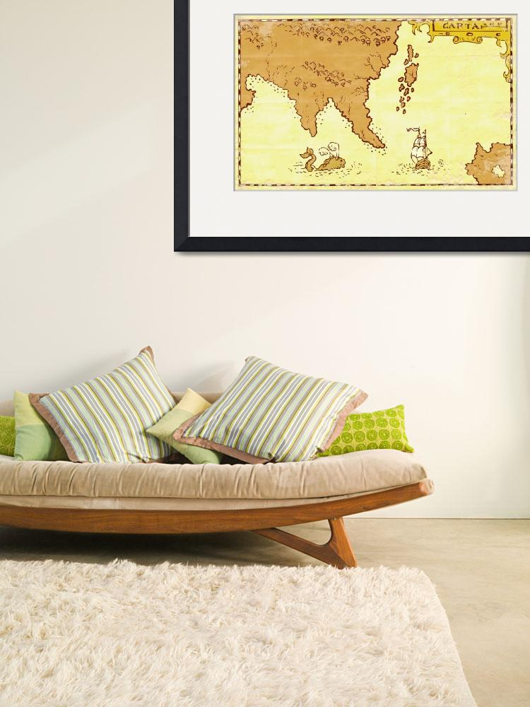 """Vintage Map Treasure Island Tall Ship Whale&quot  (2012) by patrimonio"