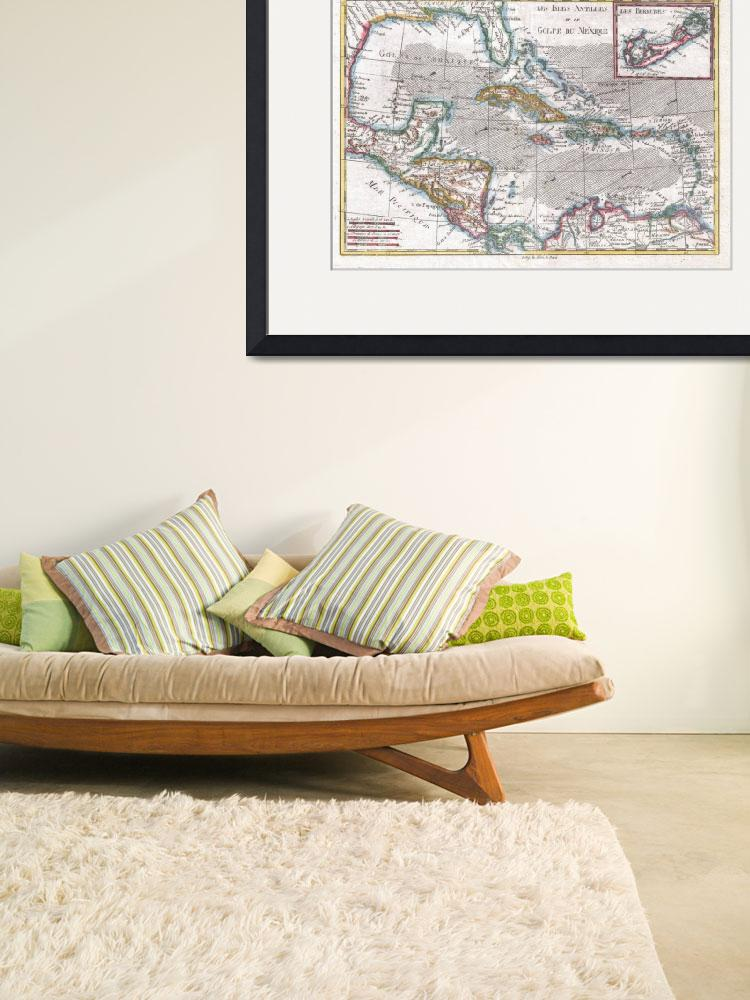 """Vintage Map of The Caribbean (1780)&quot  by Alleycatshirts"