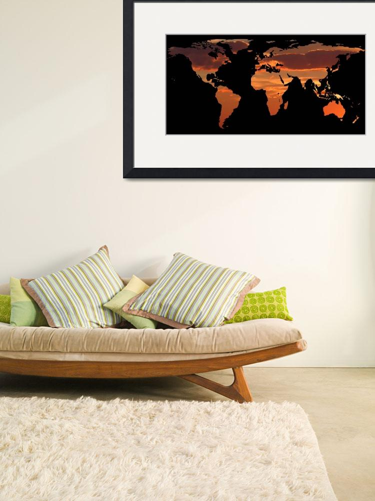 """World Map Silhouette - Romantic Sunset&quot  by Alleycatshirts"