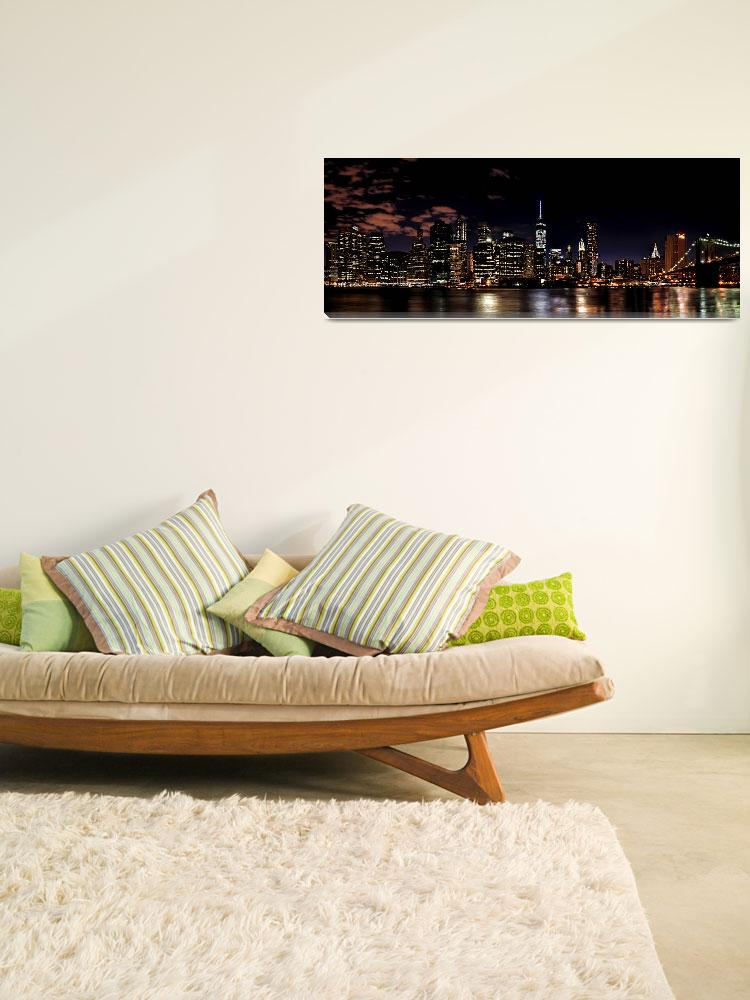 """Lower Manhattan Skyline Panorama at Night&quot  by New-Yorkled"
