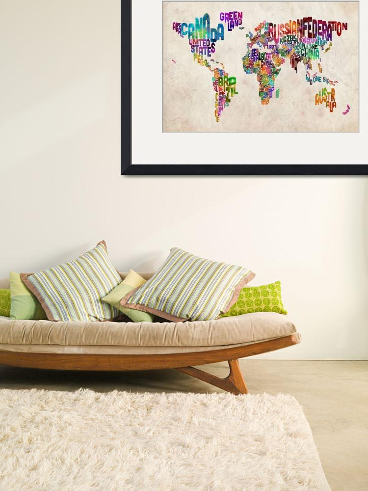 """Text Map of the World Urban Watercolor&quot  (2012) by ModernArtPrints"