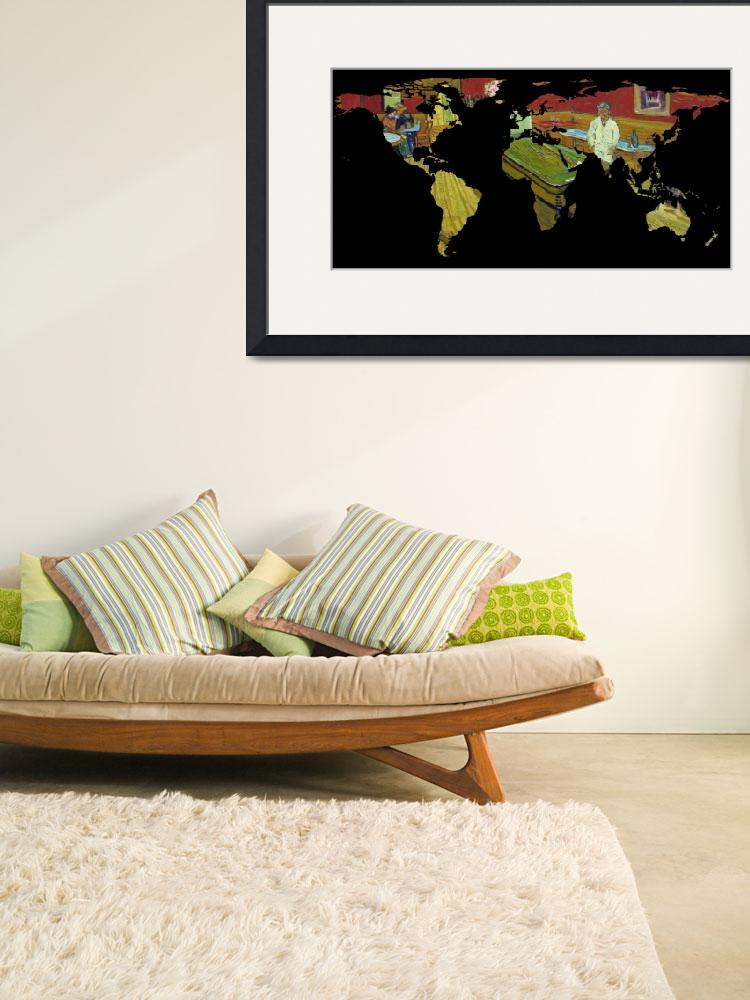 """world map van gogh night cafe - resized&quot  by Alleycatshirts"
