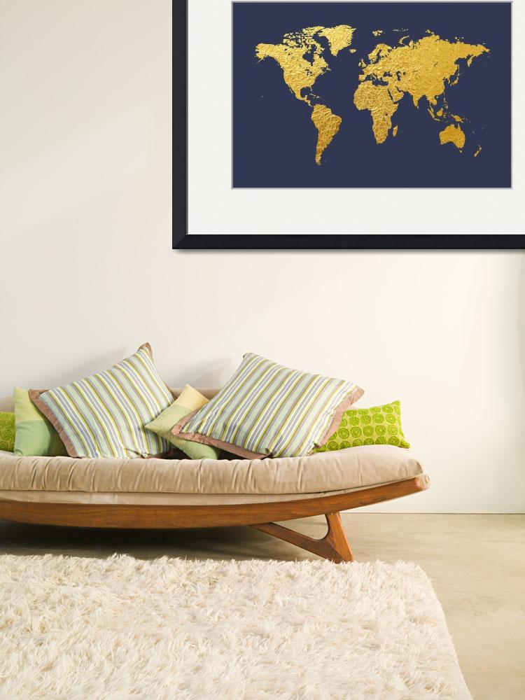"""World Map Gold Foil&quot  by ModernArtPrints"