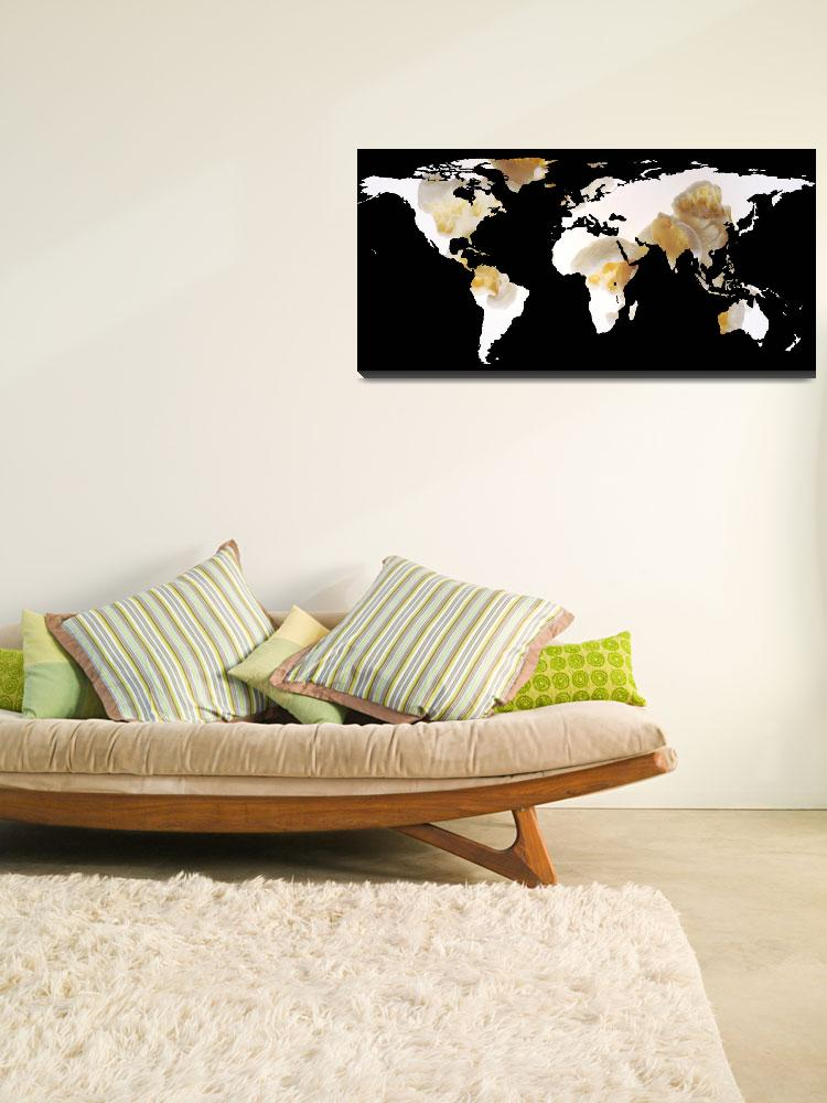 """World Map Silhouette - Popcorn&quot  by Alleycatshirts"
