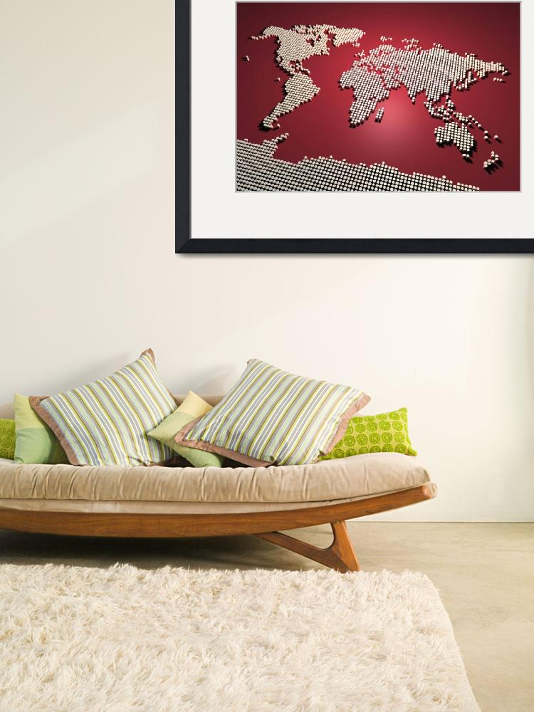 """World Map in Red&quot  (2011) by ModernArtPrints"