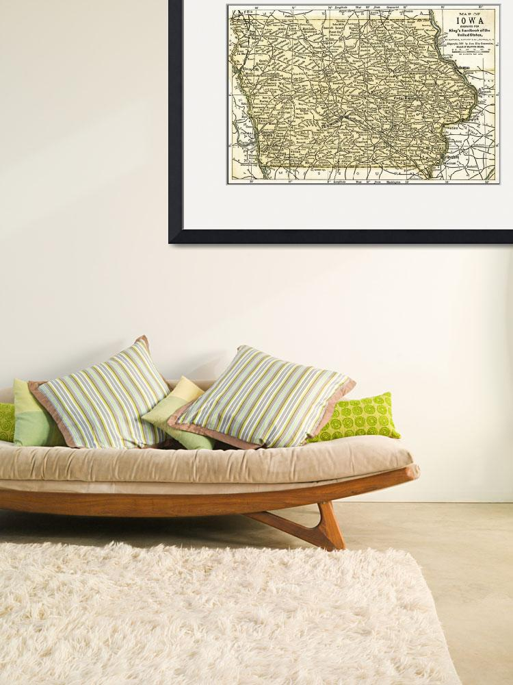 """Iowa Antique Map 1891&quot  (2016) by WilshireImages"