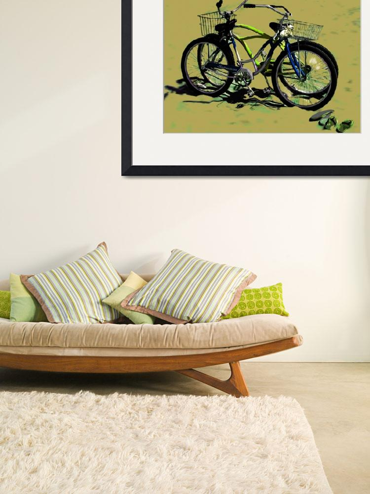 """Bikes on the Beach 1 green and blue&quot  (2008) by LeslieTillmann"