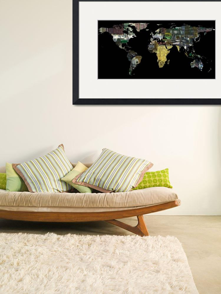 """World Map Silhouette - A Busy World Painting&quot  by Alleycatshirts"