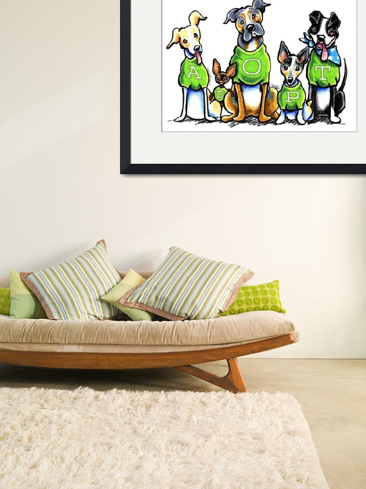"""Adopt Shelter Dogs Green Tees&quot  (2013) by OffLeashArt"