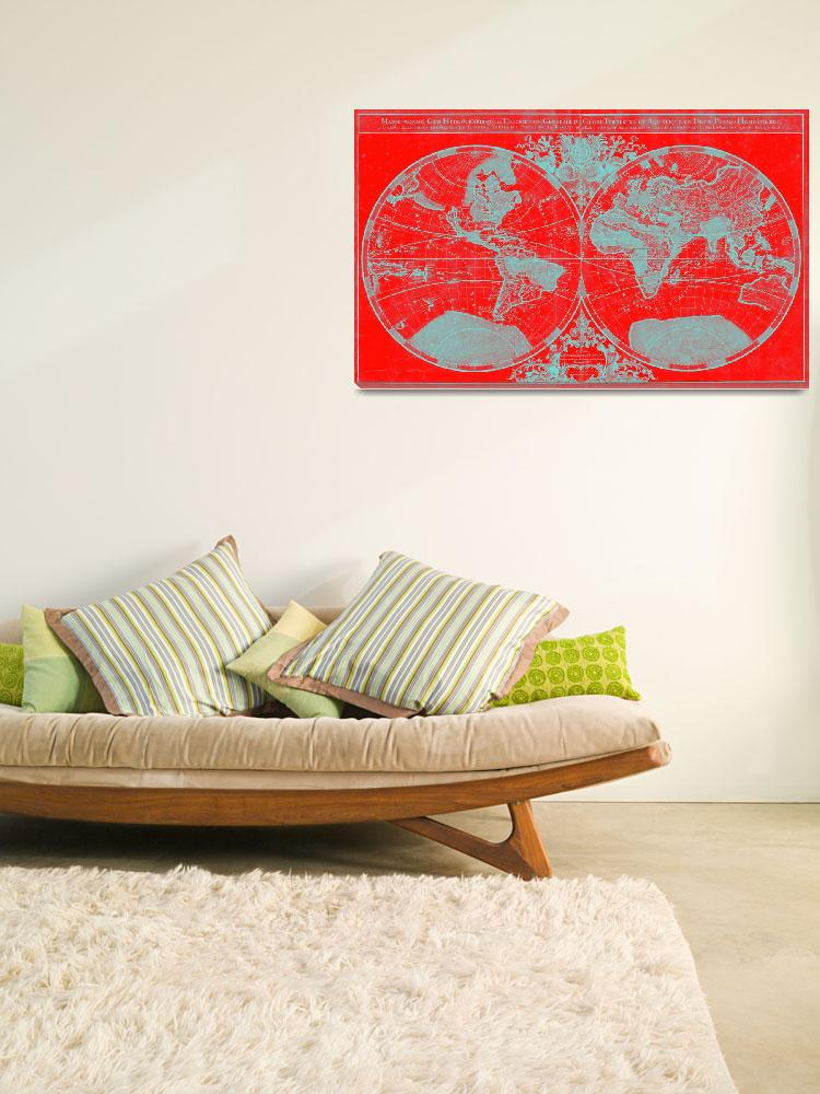 """World Map (1691) Red & Light Blue&quot  by Alleycatshirts"