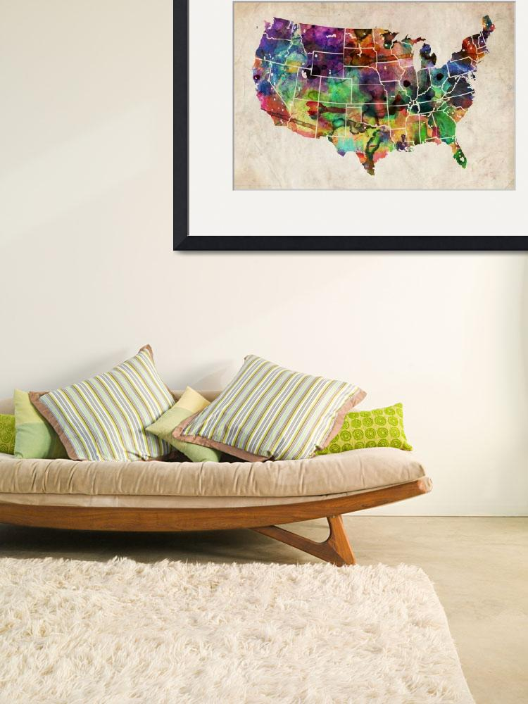 """USA Watercolor Map&quot  (2011) by ModernArtPrints"