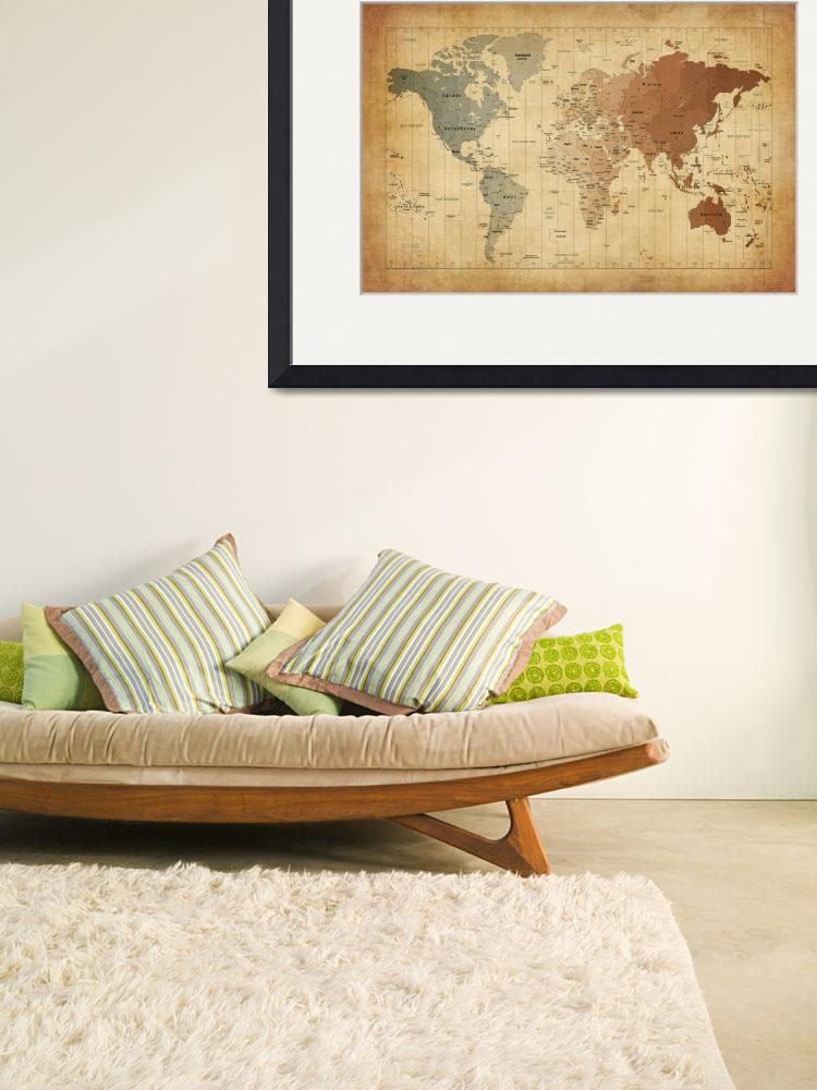 """Time Zones Map of the World&quot  (2012) by ModernArtPrints"