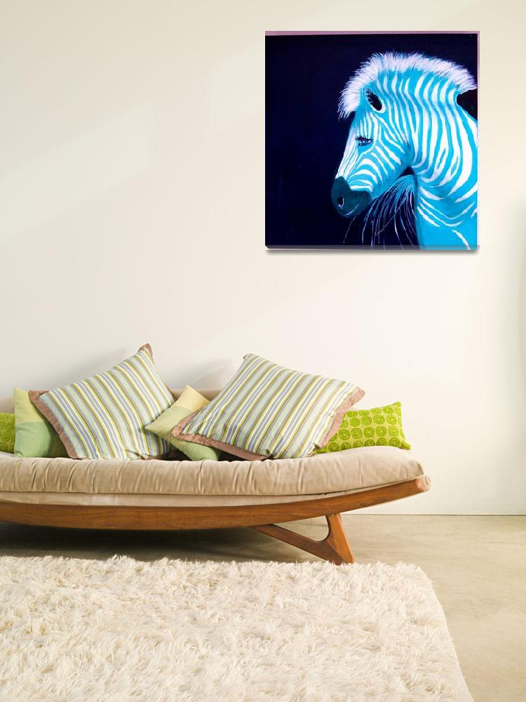 """Zebra Blue Popart&quot  (2010) by Spangles44"